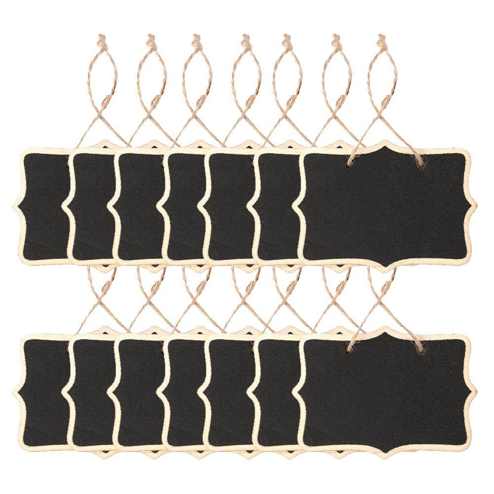 14x Mini Chalkboards Signs Hanging BlackBoard Rectangle Message Board Double Sided For Weddings, Kids Crafts, Garden, Black