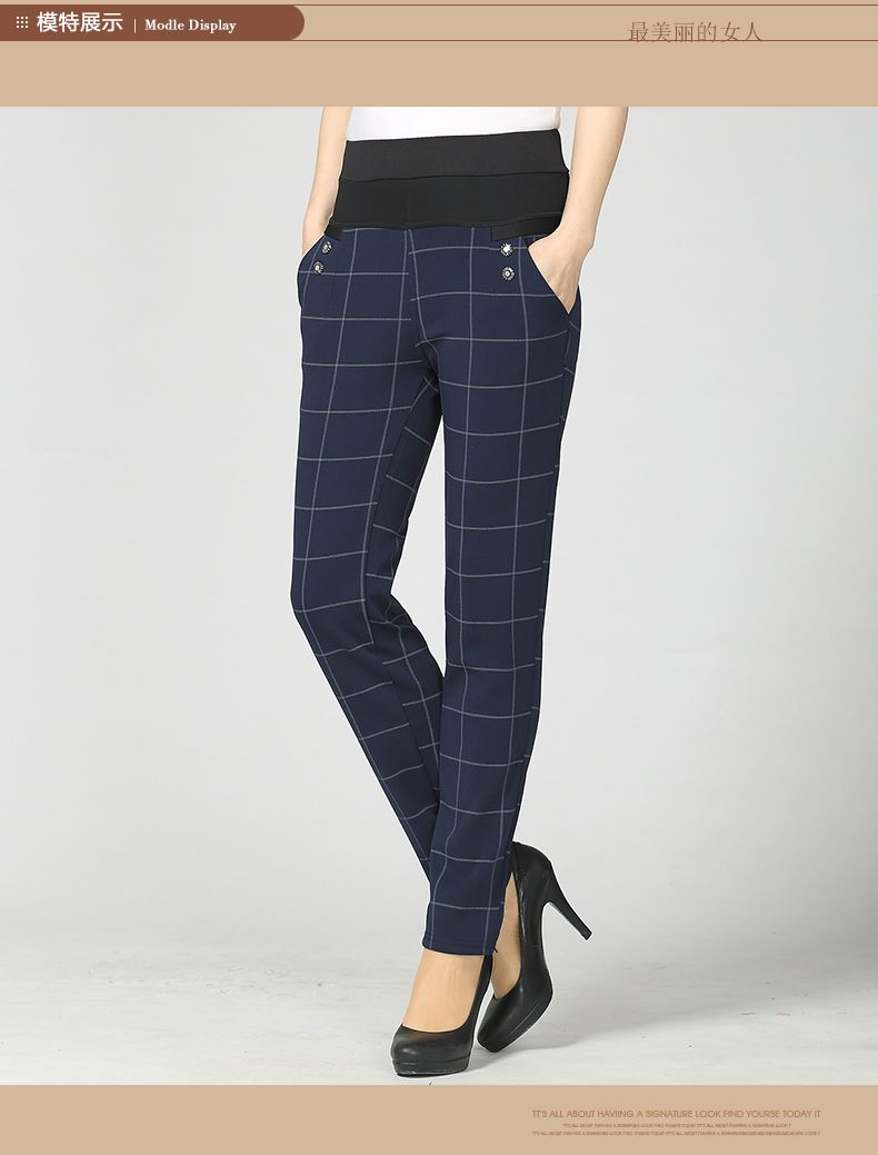 Woman Casual Pant Navy Blue Green Black Plaid Trousers Women Spring Autumn Winter Trouser High Waist Elastic Band Pantalonese Mujer  (7)