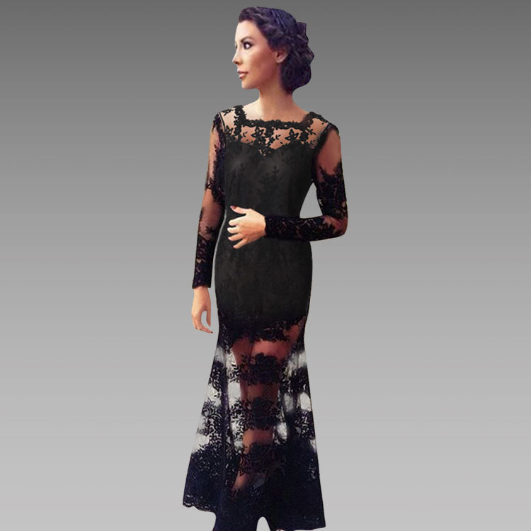 Black maxi dress lace sleeves