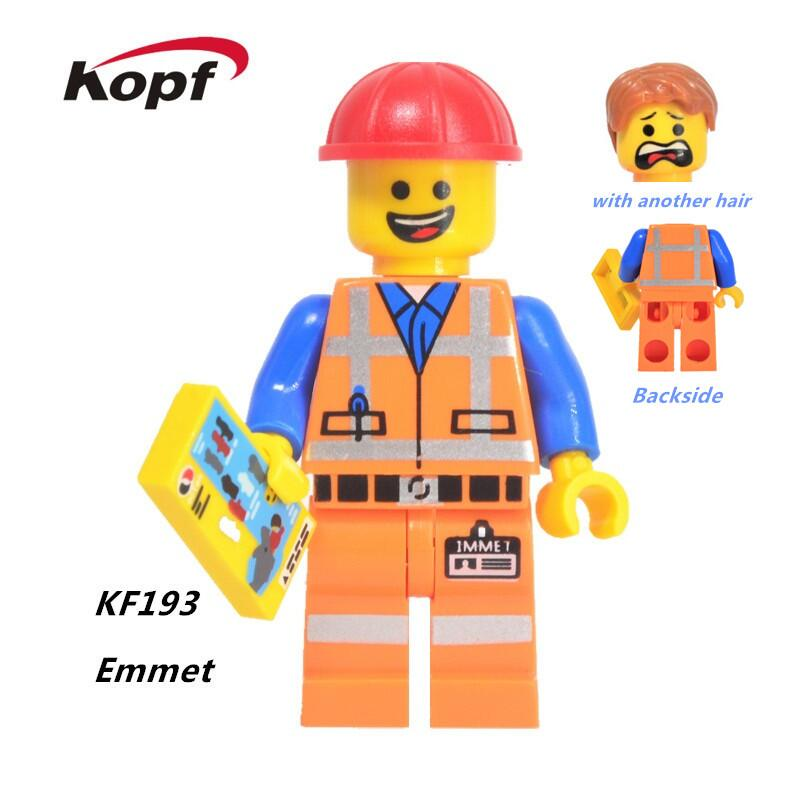 Super Heroes City Series The Big Movie Loose Emmet Construction Worker With Another Hair Building Blocks Children Gift Toy KF193