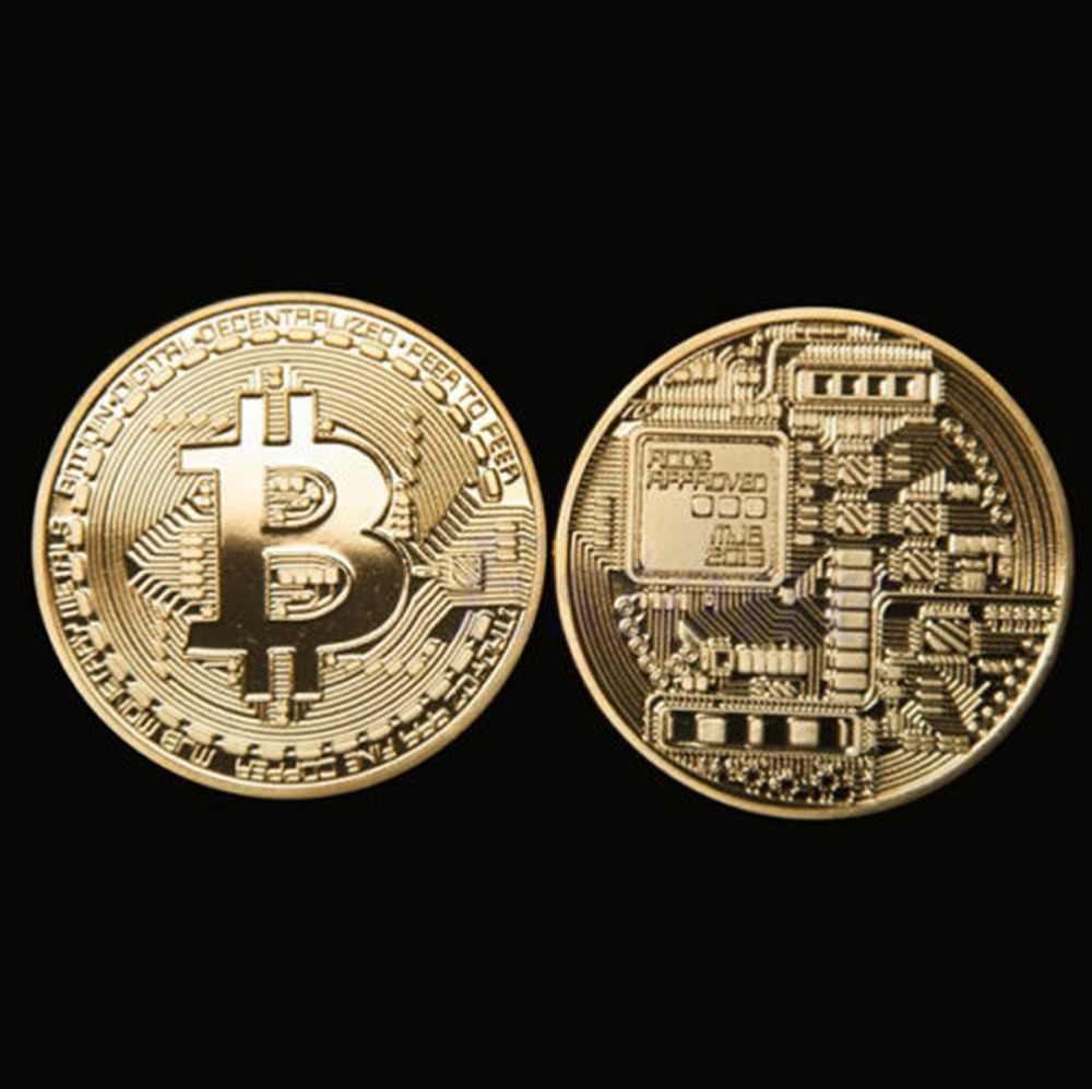 1pc Gold Plated Bitcoin Coin Collectible Gift BTC Coin Art Collection Physical Two Sides