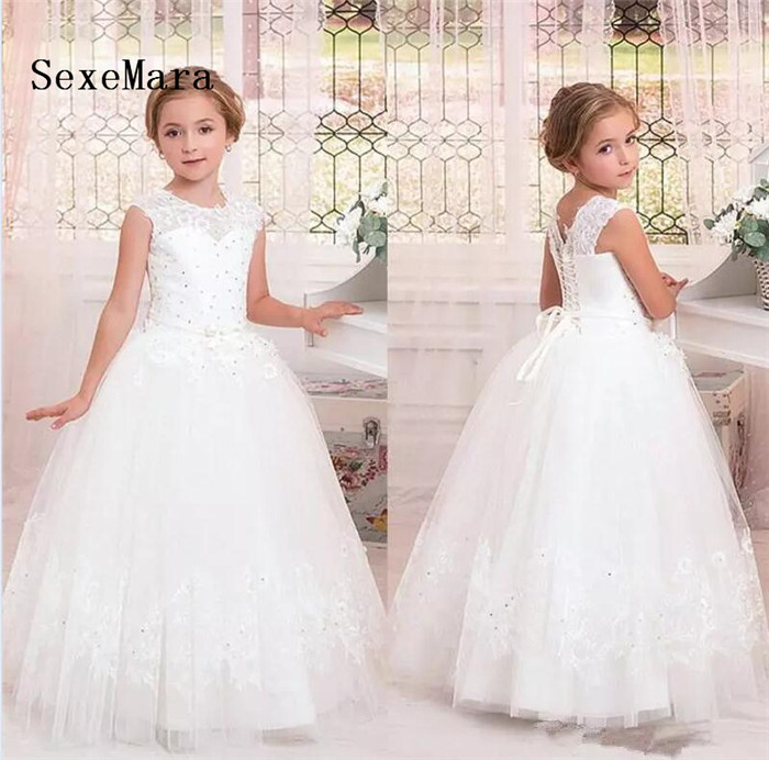 New Ball Gown Tulle Flower Girl Dresses Lace Up Back Kids Pageant Dresses Birthday Party Gown Communion Dress Robe fille fleur 2016 lace tulle flower baby girl dress princess communion dresses christening baptism girls dress for wedding party robe fille