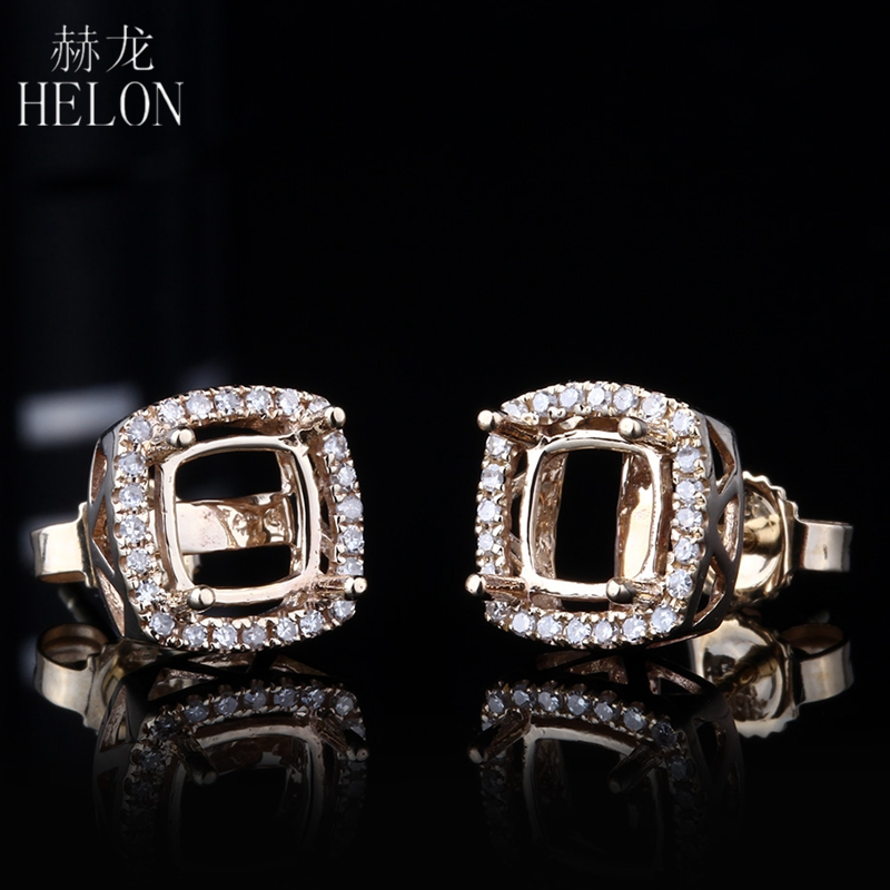 все цены на HELON 5mm-6.75mm Cushion Cut Earring Semi Mount in Solid 14K Yellow Gold With Diamond Halo Stud Earring For Women Fine Jewelry