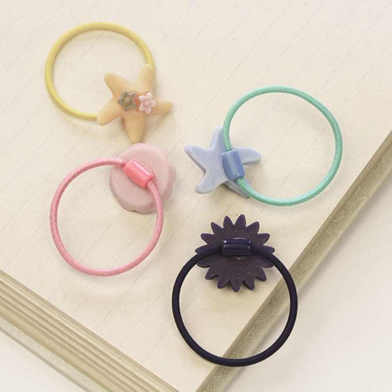 5 шт случайные модные матовые эластичные резинки для волос девушки цветочные конский хвост держатели повязка мультфильм смешивание эластичные кольца для волос