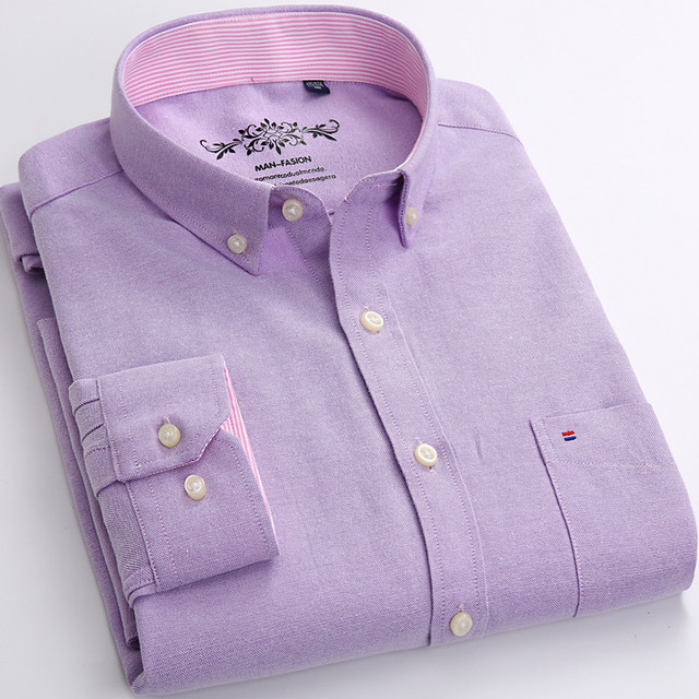 2019 Spring new solid mens cotton oxford shirts Casual Slim Fit men long sleeve dress shirts male shirt homme Plus Size S-4XL 1