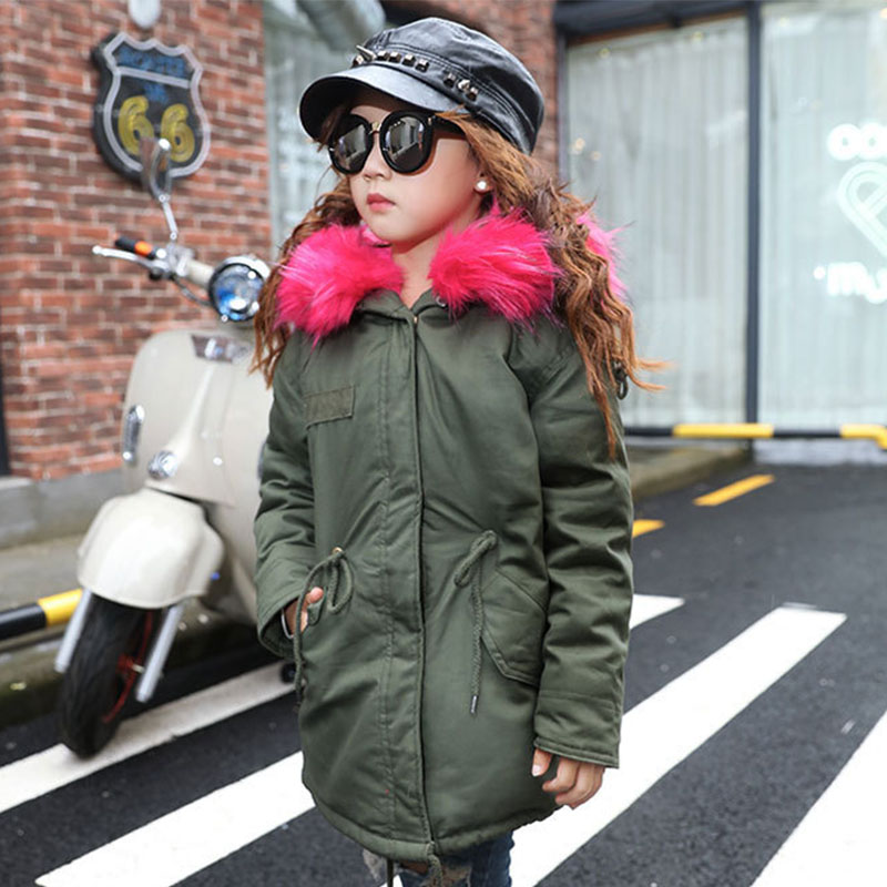 blue fur hooded outwear kids girl down coats thick warm long winter jacket for girls green black clothes 2017 new fashion new fashion warm winter spring jacket men long sleeve zippers olive green and navy outwear loose men pakas a3744