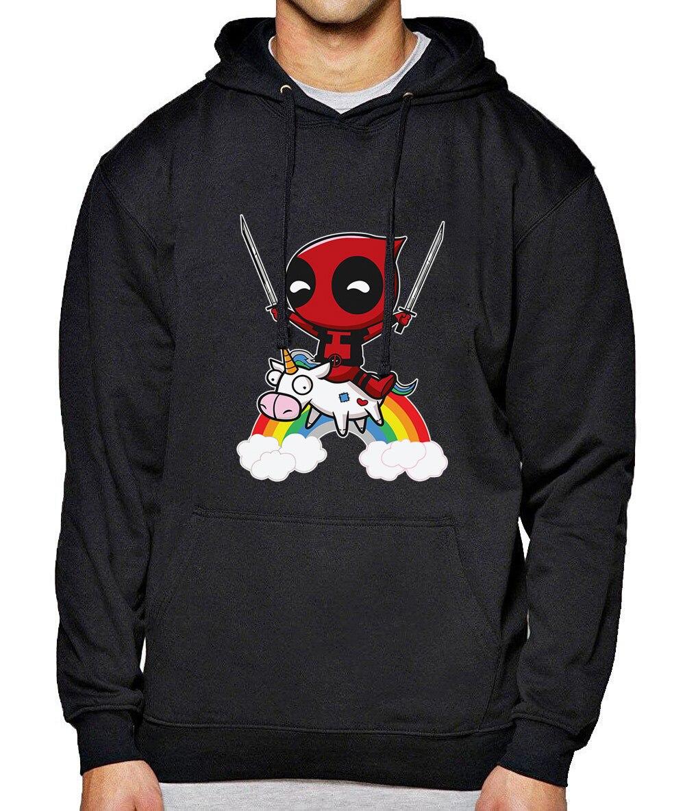 2018 Autumn Winter Fleece Sweatshirt For Men Streetwear Fashion Brand Hoody DEADPOOL Cartoon Funny Hoodies Harajuku Tracksuits