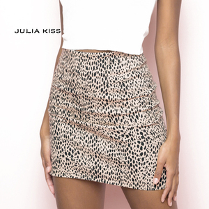 Women Leopard Print Mini Skirt(China)