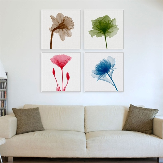 watercolor flower poster modern minimalist x ray flower photo large