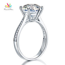 Peacock Star Solid 925 Sterling Silver Wedding Anniversary Engagement Ring 3 Carat Jewelry CFR8209