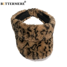 BUTTERMERE Visor Hat Winter Women Fur Baseball Caps Female Leopard Warm Snapback Cap Lady Casual Hats Accessories 2019