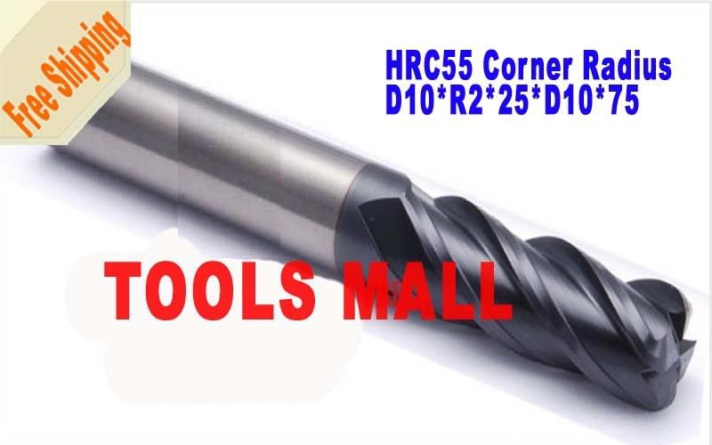 Free shipping 2pcs 10mm 4Flutes corner Endmill Radius Spiral Bit Milling Carbide CNC Router bits hrc55