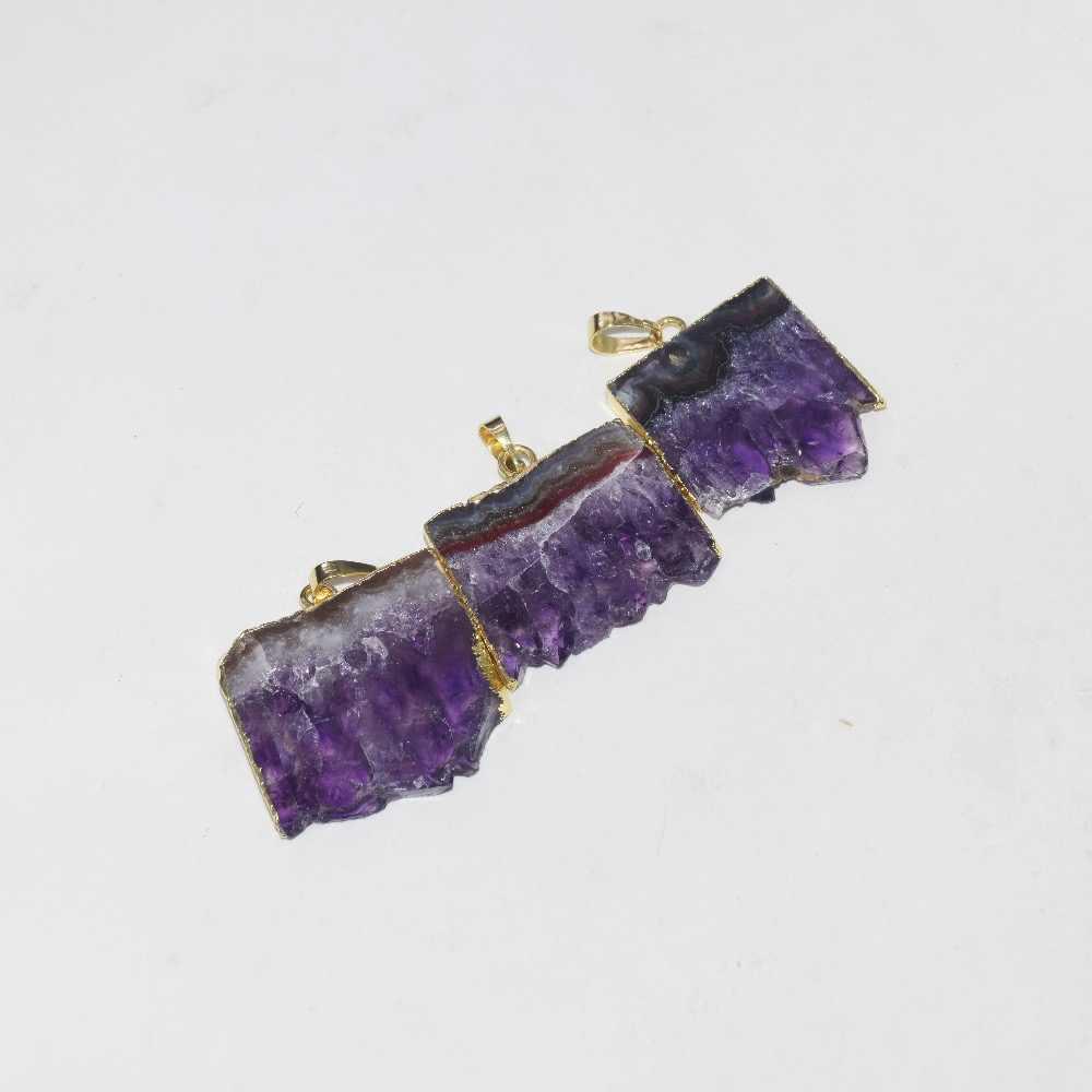 天然アメジストスライス長方形ペンダント女性 2019 ボヘミアン新ビッグ紫色の水晶の geode druzy ペンダントジュエリーメイキングのために