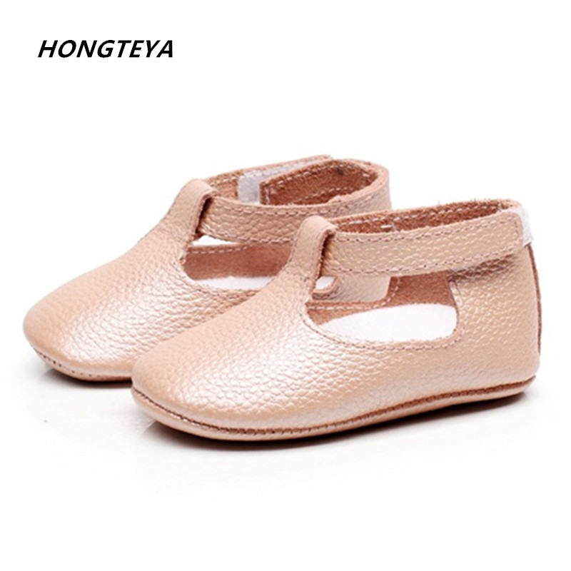 HONGTEYA Spring Handmade Genuine Leather Moccasins Shoes Mary jane soft sole bow Baby Shoes Newborn first walkers toddler Shoes
