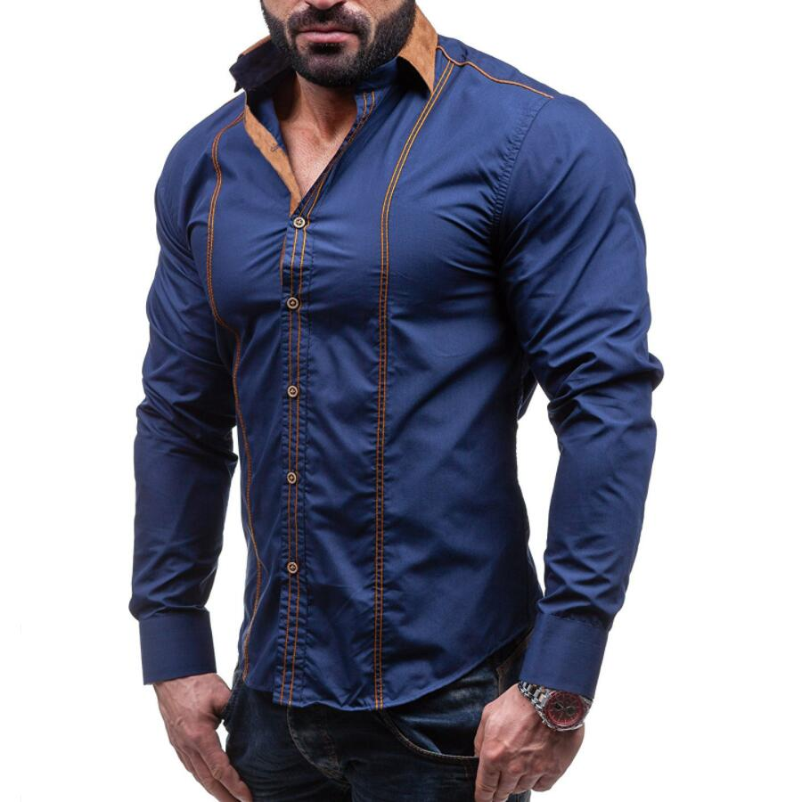 Casual Shirts Men Fashion Slim Solid Long Sleeve  Cotton Men's Clothing