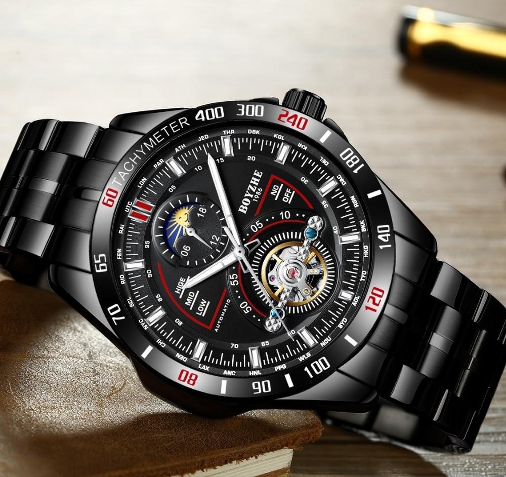 BOYZHE hombres automático mecánico moda superior marca deporte relojes Tourbillon Luna fase reloj de acero inoxidable - 3
