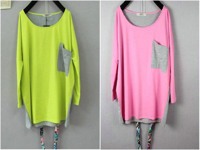 Free Shipping Fashion Plus Size Long Sleeve Loose Solid Neon Color