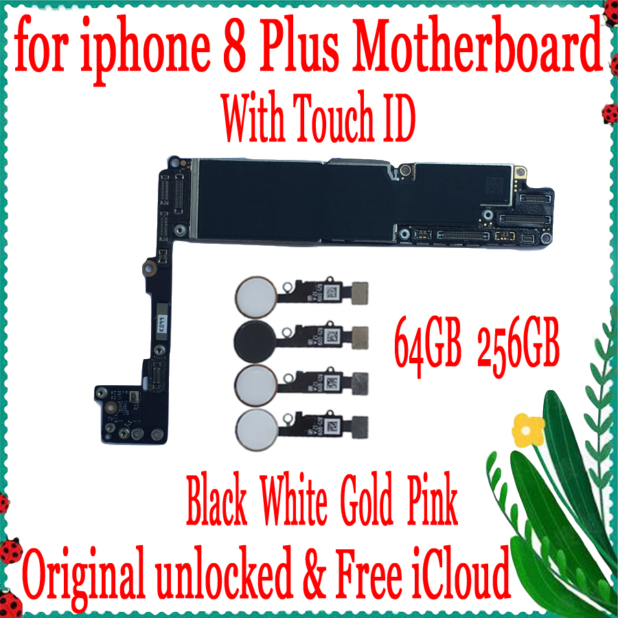 64GB 256GB for <font><b>iphone</b></font> <font><b>8</b></font> Plus 5.5inch <font><b>Motherboard</b></font> <font><b>with</b></font>/without <font><b>Touch</b></font> <font><b>ID</b></font>,Original unlocked for <font><b>iphone</b></font> 8Plus Mainboard,Free iCloud image