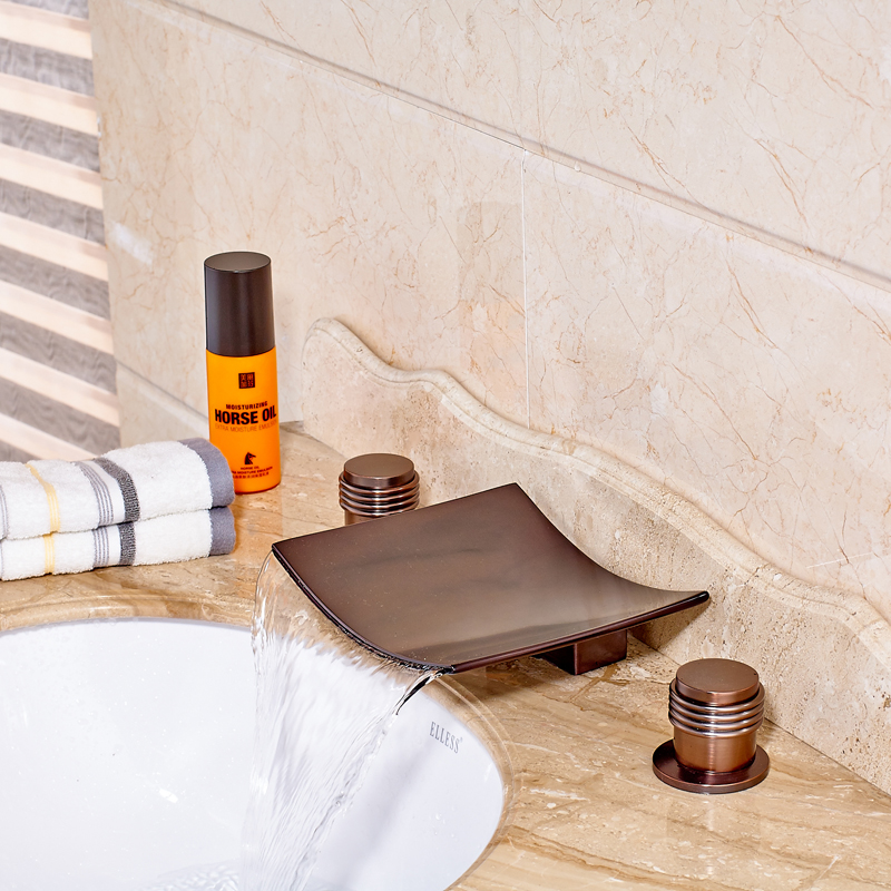 Luxury Oil Rubbed Bronze Deck Mounted Bathroom Sink Faucet Dual Handle Hot and Cold Water Mixer Tap allen roth brinkley handsome oil rubbed bronze metal toothbrush holder