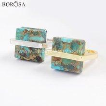 Borosa 5 шт  дизайнерское золотистое серебряное квадратное кольцо