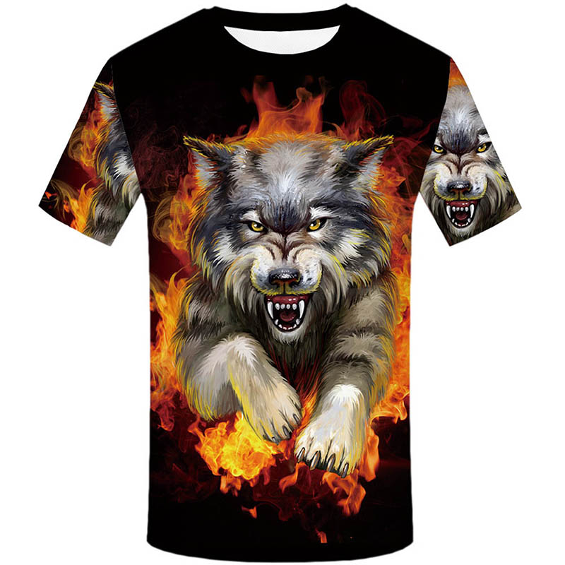 New Brand Flame T Shirt Wolf T-shirts Aggressive Anger Shirts 3d T Shirt Animal T-shirt Men Hip Hop 2018 Homme Casual