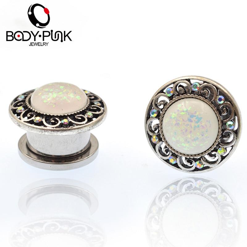 BODY PUNK უჟანგავი ფოლადის თეთრი Opal მოჩუქურთმებული ხრახნიანი გვირაბების ყურის სანთლები სხეულის Piercing სამკაულები 6mm-20mm ყურის Expanders