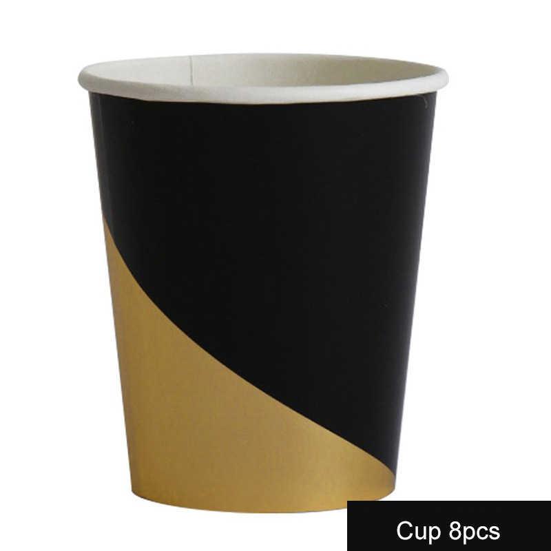 44 шт./компл. черная столовая посуда одноразовая бумажная тарелка салфетка для чашек вечерние детские Душ Свадебные украшения на день рождения