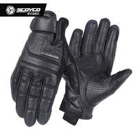 Scoyco MC46 Retro Perforated Leather Motorcycle Gloves Moto Motorbike Protective Gear Motocross Glove Winter Man Female