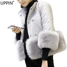 UPPIN шуба куртка женская Роскошные Для женщин Меховая куртка из зимней эко-кожи теплое пальто толстый искусственный Лисий мех парки розовый из искусственной кожи Верхняя одежда женские меховые пальто шуба шубы