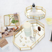 Nordic ins gold plated glass jewelry box makeup desktop ring storage tray room decorations ornaments display boxes figurines