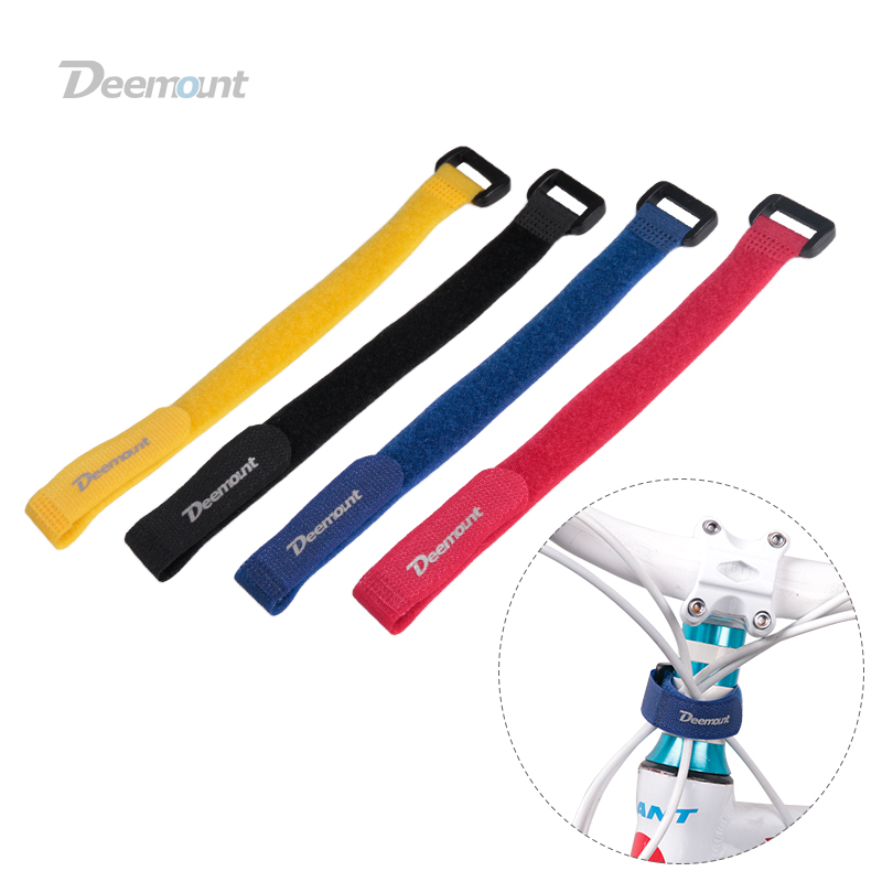 4PCS Deemount Bicycle Nylon Hook/Loop Tape Self Adhesive Strap Bike Cable Thread Tie  Pump Bottle Band Cycling Flashlight Bandag