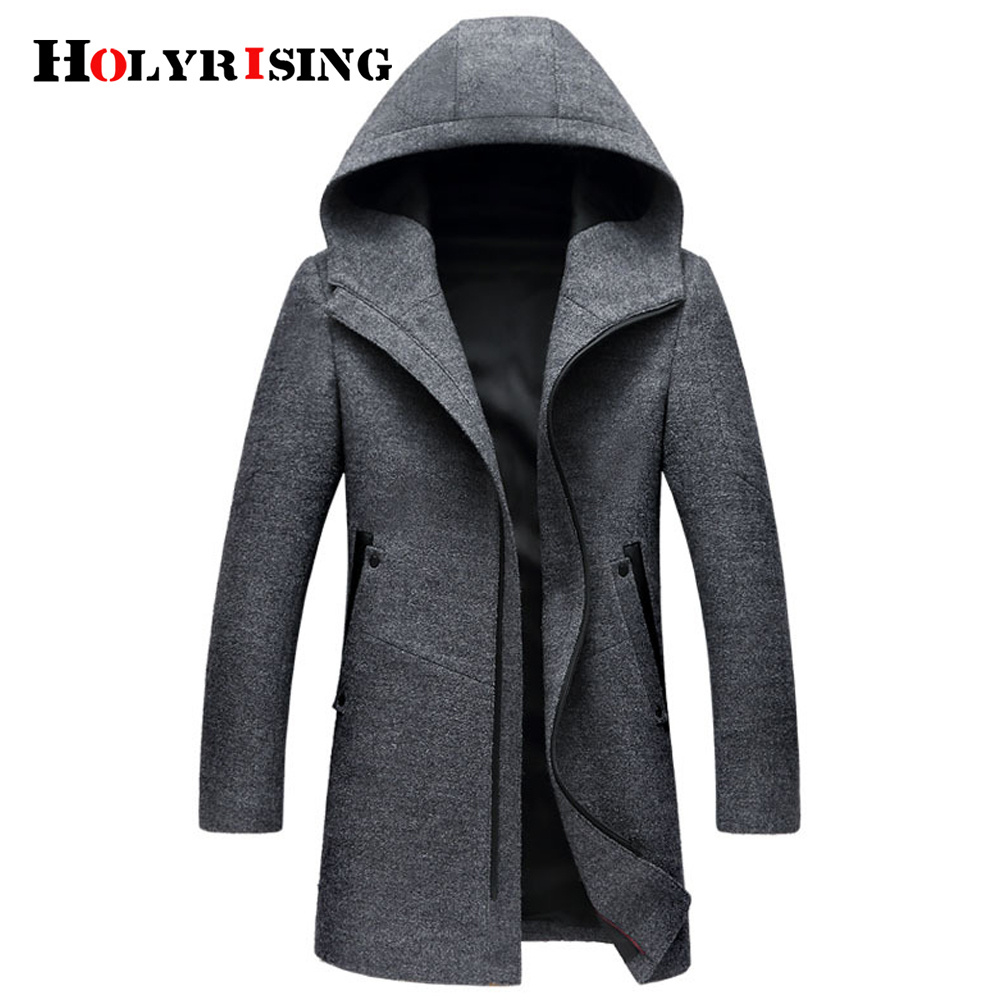 Winter Wool Coat Men Fashion Wool Jacket Men High Quality Hooded Mens Peacoat Size M 3XL size #18172 holyrising-in Wool & Blends from Men's Clothing    1