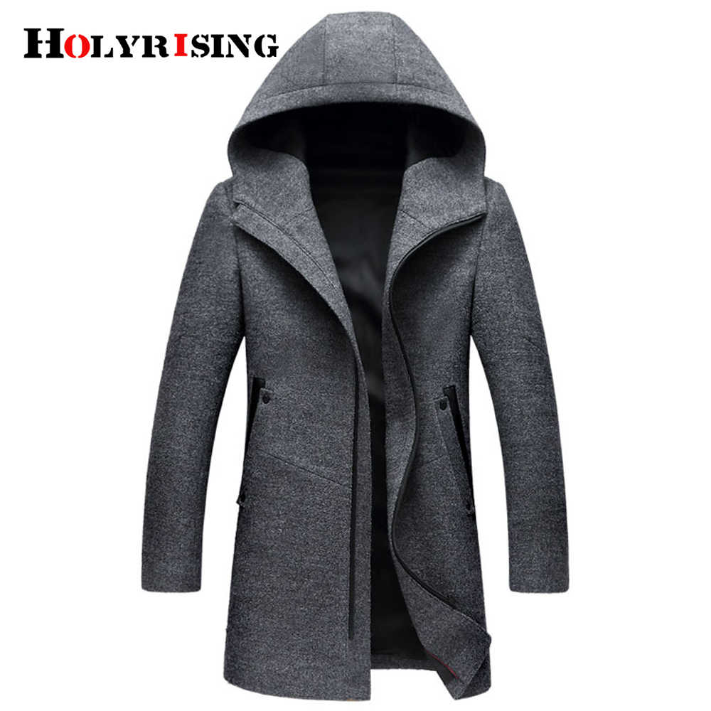 Winter Wool Coat Men Fashion Wool Jacket Men High Quality Hooded Mens Peacoat Size M-3XL size #18172 holyrising