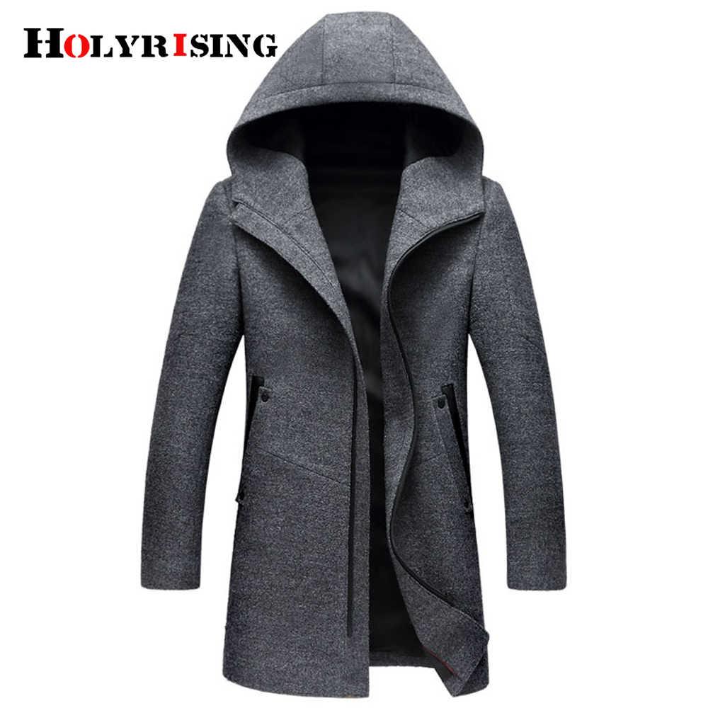 冬のウールコート男性ファッションウールジャケット男性高品質フード付きメンズピーコートサイズm-3xlサイズ#18172 holyrising