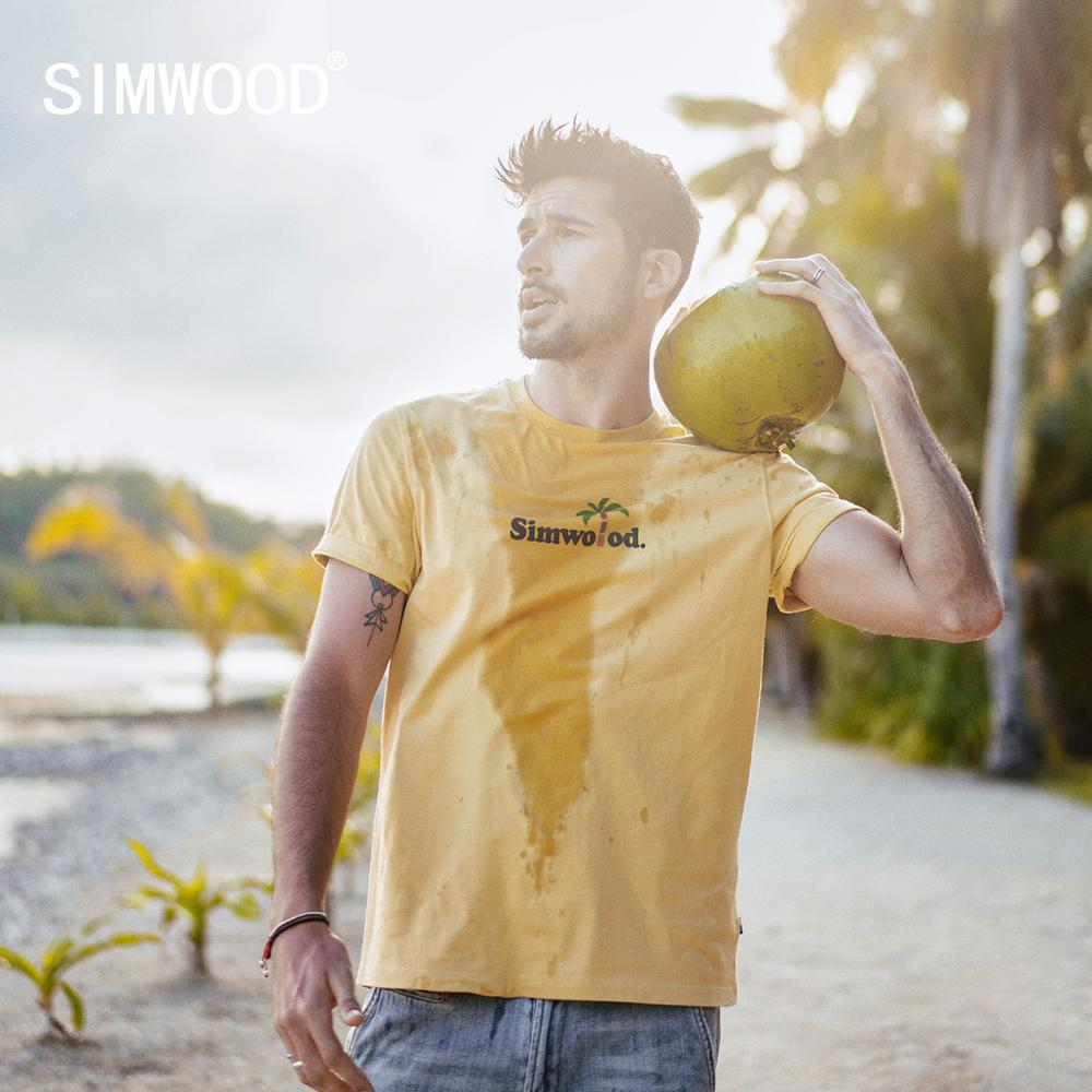SIMWOOD 2020 Summer New T Shirt Men Letter Coconut Print T-shirt High Quality 100% Cotton Plus Size Tops Brand Clothing 190285