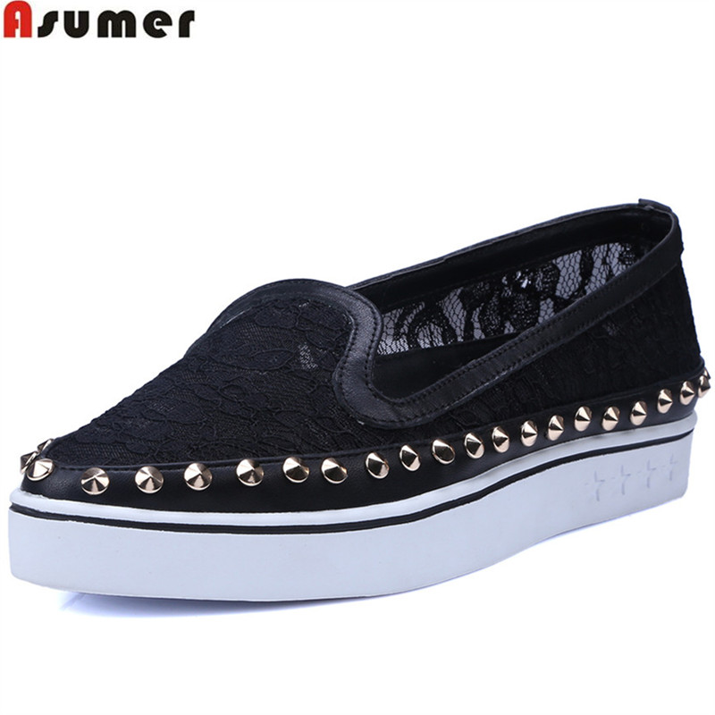 ASUMER black pointed toe shallow casual rivet flat platform shoes woman fashion 2018 new arrival women flats lankarin brand 2017 summer woman pointed toe flats ladies platform fashion rivet buckle strap flat shoes woman plus size