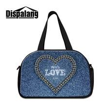 0e72102c0dd8 Dispalang cute love design women s travel bags men s canvas denim print  duffle bag cool weekend hand