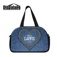 Dispalang lindo amor diseño mujeres bolsas de viaje de lona de los hombres impresión Denim lona semana fresco bolso de mano adolescentes al por mayor