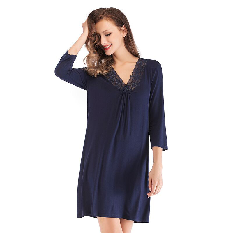 2019 Summer Nightwear Women Sexy V-Neck Lace   Nightgown   Female 3/4 Sleeve Loose   Nightgown   Soft Sleepwear   Sleepshirt   Nightdress