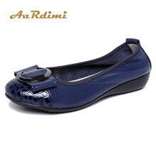Купить с кэшбэком AARDIMI Hot Sell Spring Ballet Flats Women Genuine Leather Flat Shoes Casual Shallow Slip On Classic Boat Shoes Women Mocassin