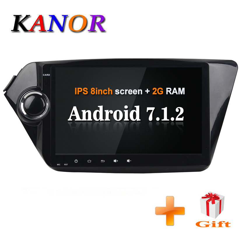 KANOR Android 7.1 2din Car Radio For KIA K2 Rio 2012 2013 2014 2015 9 IPS Screen Video Multimedia Player With SWC WIFI Audio
