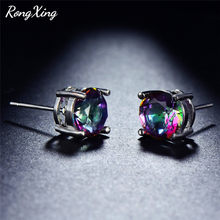 RongXing 6/8MM ronda Multicolor Zircon Stud pendientes para las mujeres de la plata esterlina 925 de Mystic Rainbow piedra pendiente regalo(China)