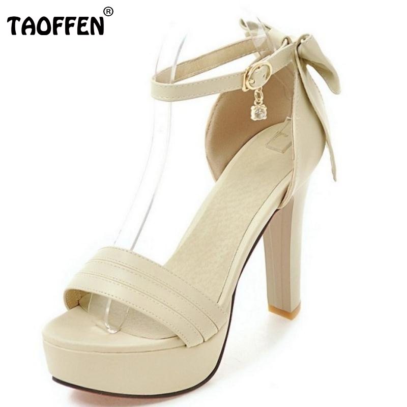 TAOFFEN Plus Size 33-43 Women Shoes Women High Heeled Sandals Open Toe Thin Heels Bowtie Bowkno Platform Belt Zapatos Mujer 2016 package with high heeled sandals women s shoes formal platform thick heel open toe shoe 40 43 plus size women s small yards