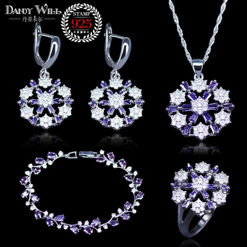 Natural 925 Silver Jewelry Purple Cubic Zirconia White Crystal Jewelry Sets For Women Earrings/Pendant/Necklace/Rings/Bracelet 925 sterling silver jewelry yellow cubic zirconia jewelry sets for women earrings pendant necklace rings bracelet
