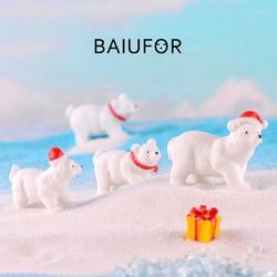 BAIUFOR Animal Miniature Christmas Polar Bear Figurines Fairy Garden Miniaturas Micro Snow Landscape DIY Terrarium Accessories