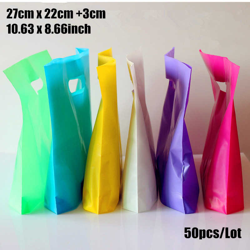 50pcs/lot 27*22+3cm(10.63*8.66'') custom gift bags Plastic Shopping Bags wholesale with Handle promotion Packing Bag Plastic
