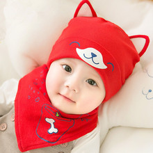 Cute Dog Design Baby Hat Scarf Set Cartoon Soft Beanies Knitted Warm Winter baby Hats cap for boy newborn photography props