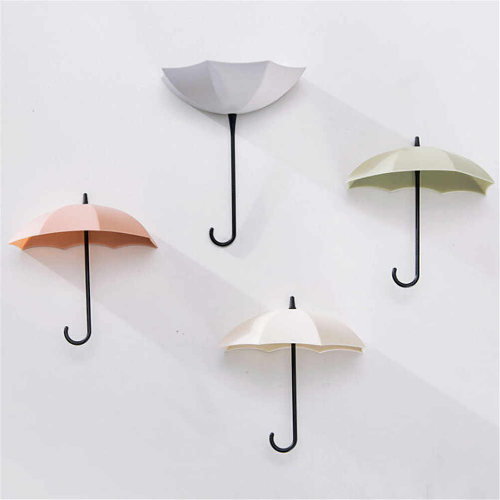 3pcs/lot Creative Umbrella Shaped Key Hanger Rack  Wall Hook For Kitchen Organizer Bathroom Home Decorative Holder