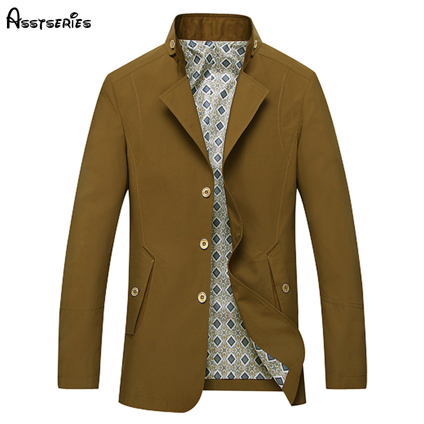 2018 New Arrived Men Windbreaker Leisure Autumn Mid Aged Mens Business Trench Coats Mens Stand Collar Jackets D130