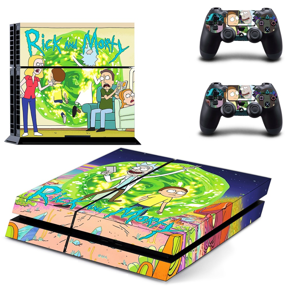 Rick and Morty PS4 Skin Sticker Decal For Sony PlayStation 4 Console and 2 Controllers PS4 Skins Sticker Vinyl rick and morty ps4 stickers